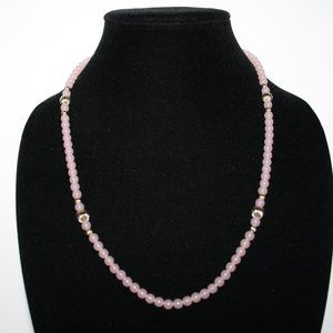 """beautiful rose pink and gold beaded necklace 30"""""""